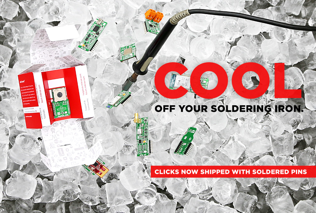 click boards now shipped with soldered headers