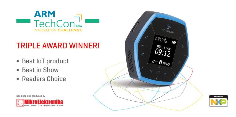Hexiwear wins three awards at ARM TechCon 2016
