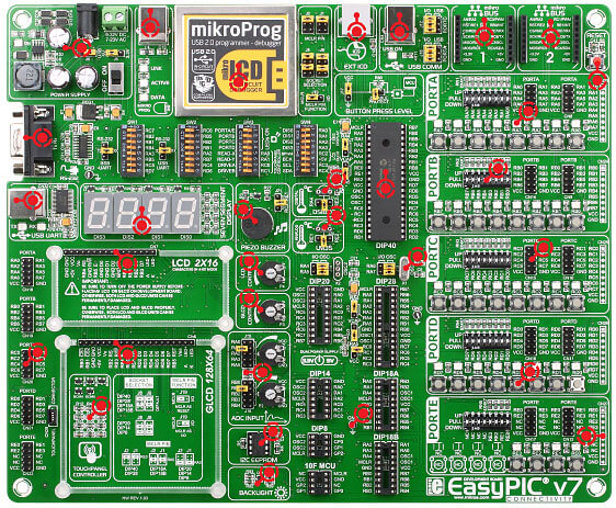 EasyPIC v7 Board Front