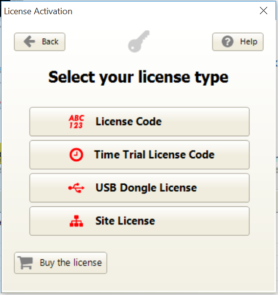 Select your license