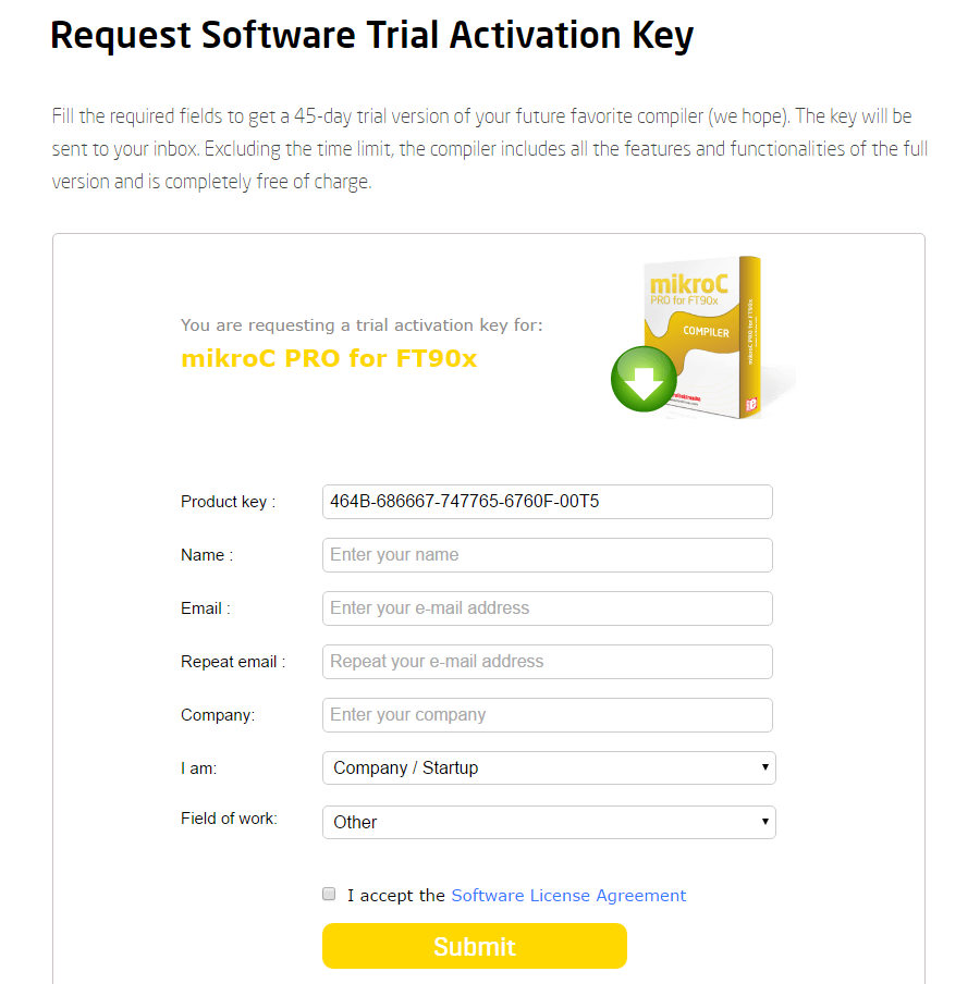 Request Software Trial Activation Key