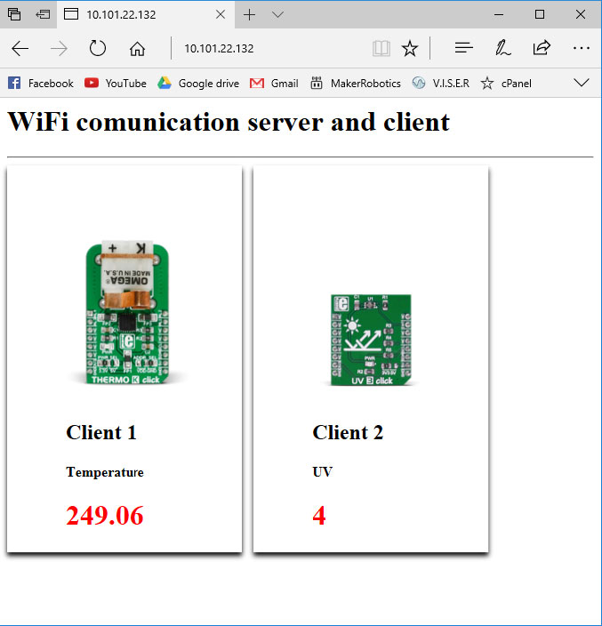 wifi communication server and client, thermo k click - uv3 click