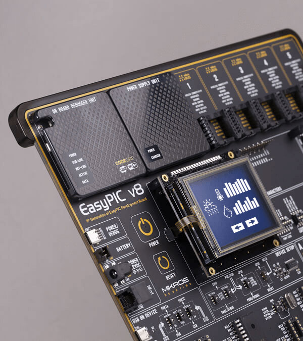 easyPIC v8 wifi display board connector