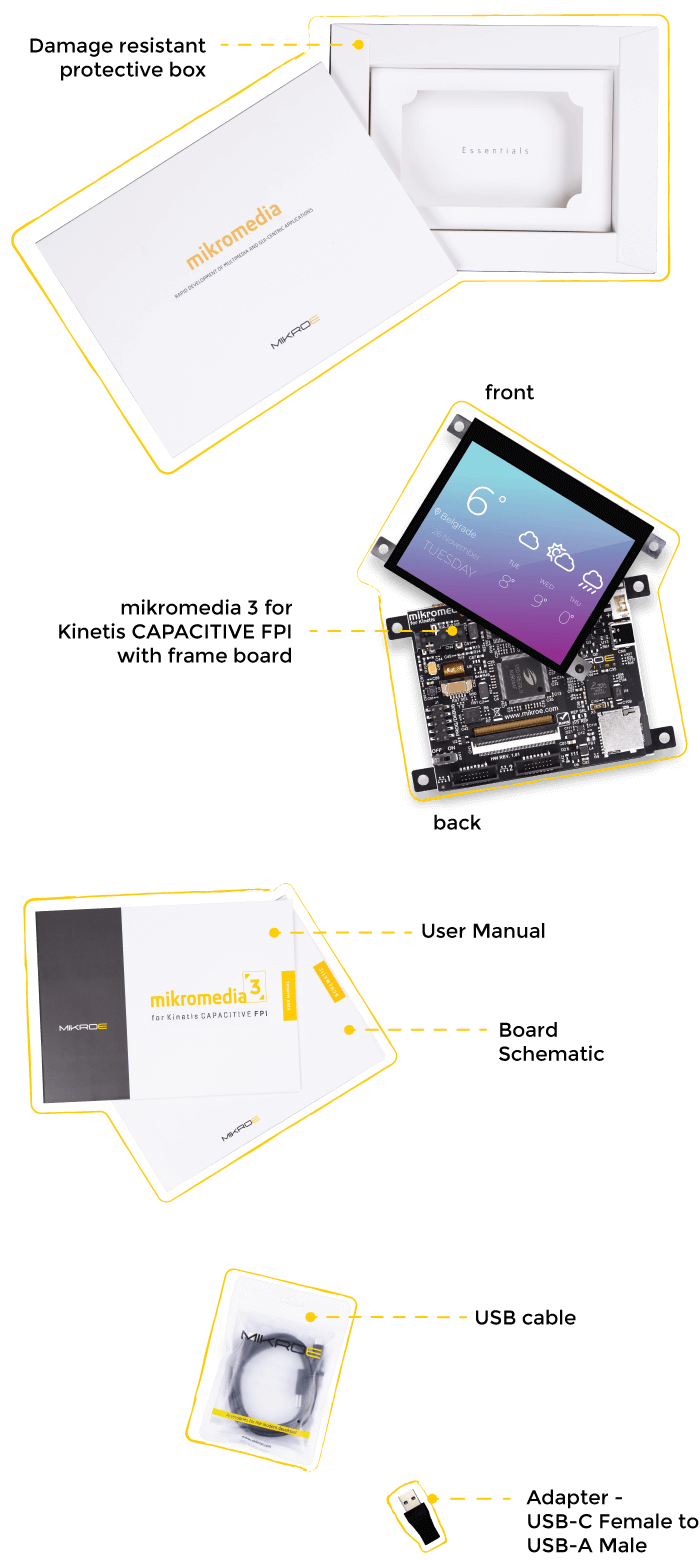 what is in the box Mikromedia 5 for Kinetis Capacitive FPI with frame