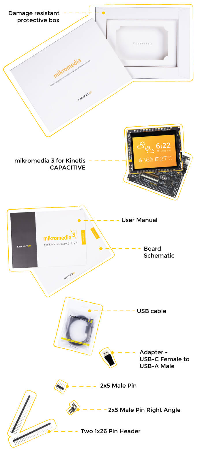 what is in the box mikromedia 3 for kinetis capacitive