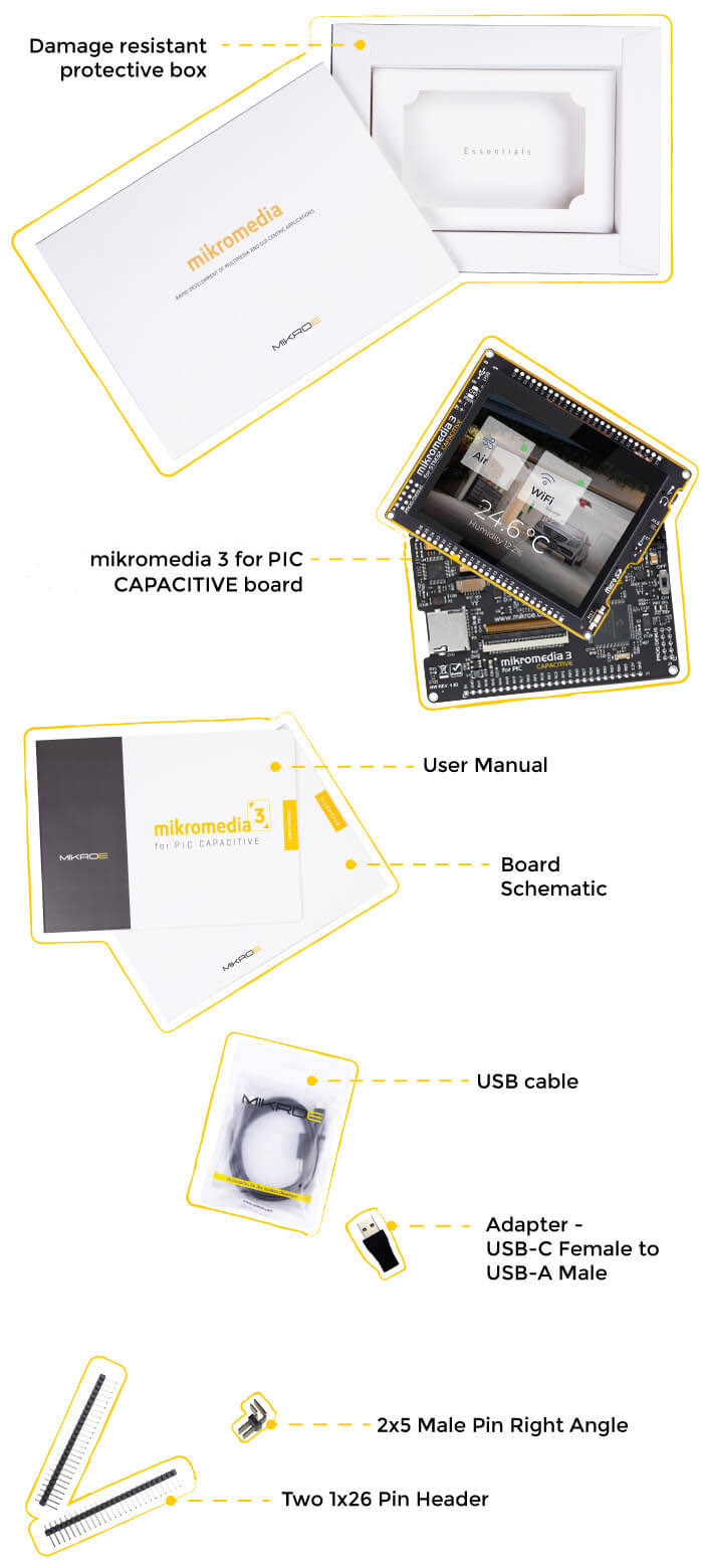 Mikromedia 3 for PIC Capacitive what is in box when you buy