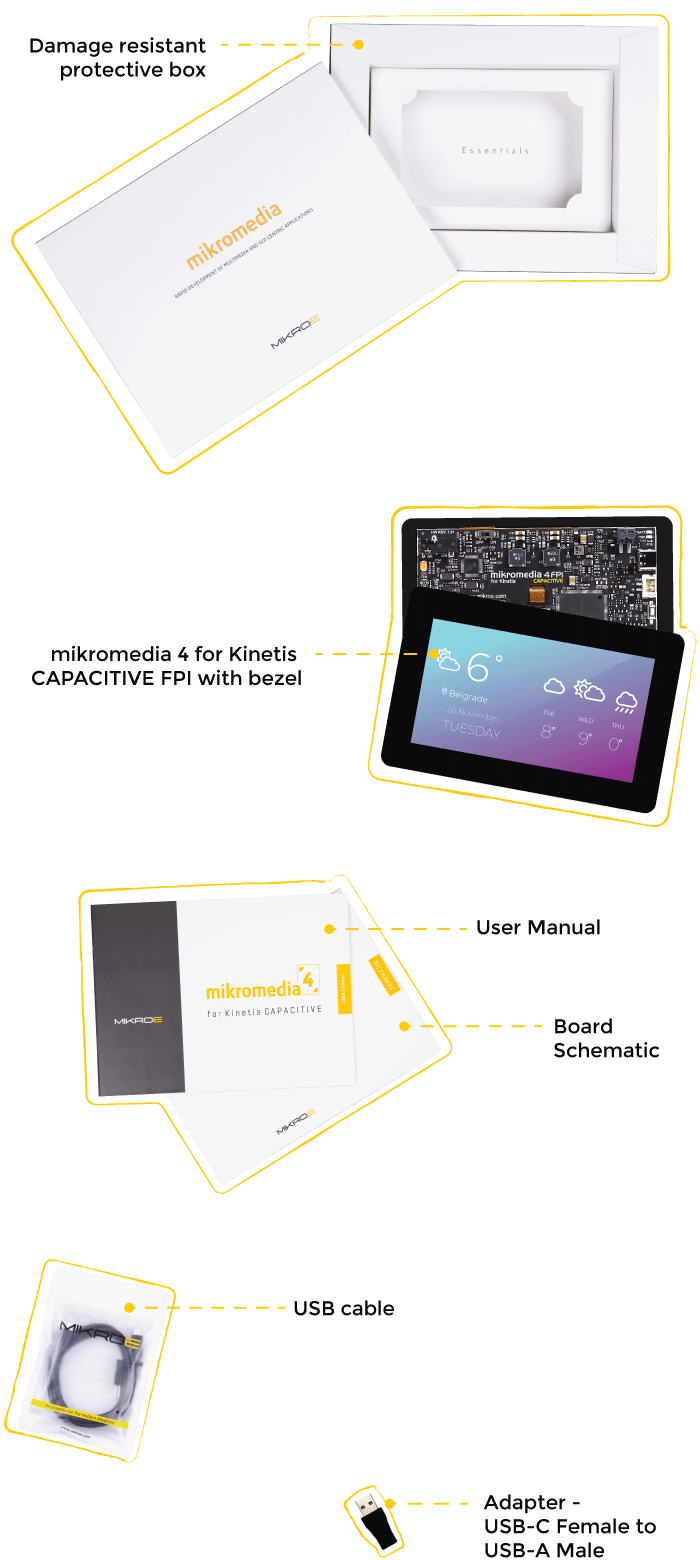 what is in the box Mikromedia 5 for Kinetis Capacitive FPI with bezel