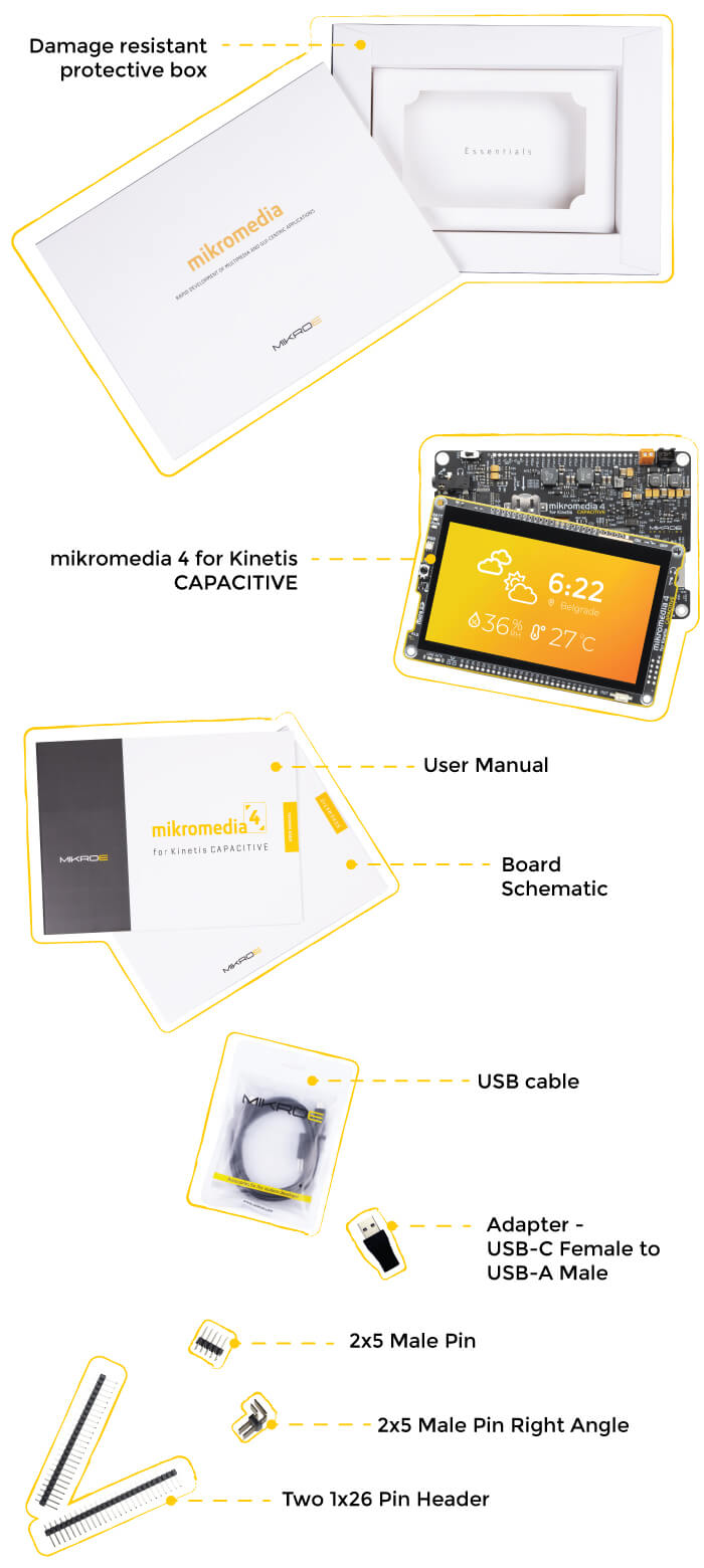 what is in the box mikromedia 4 for kinetis capacitive