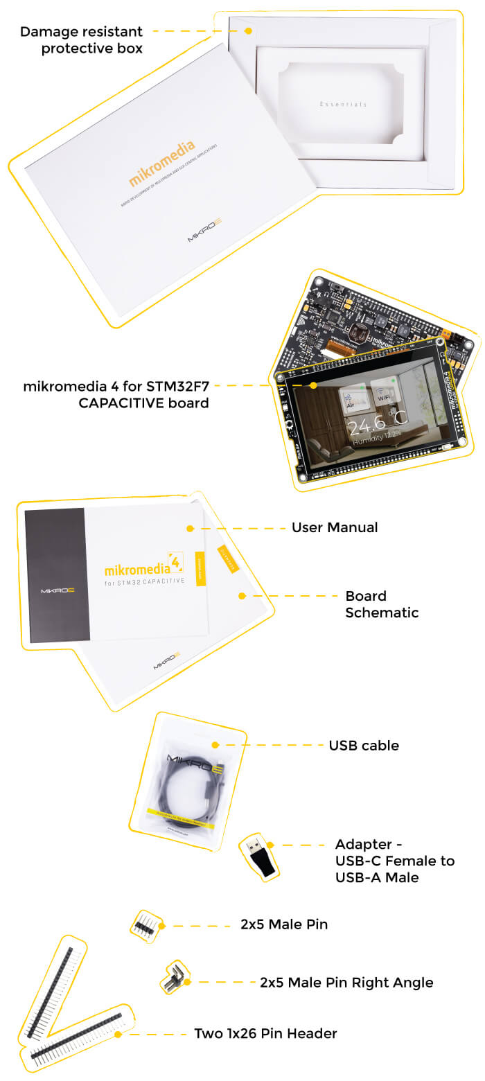what is in the box mikromedia 4 for stm32f7 capacitive