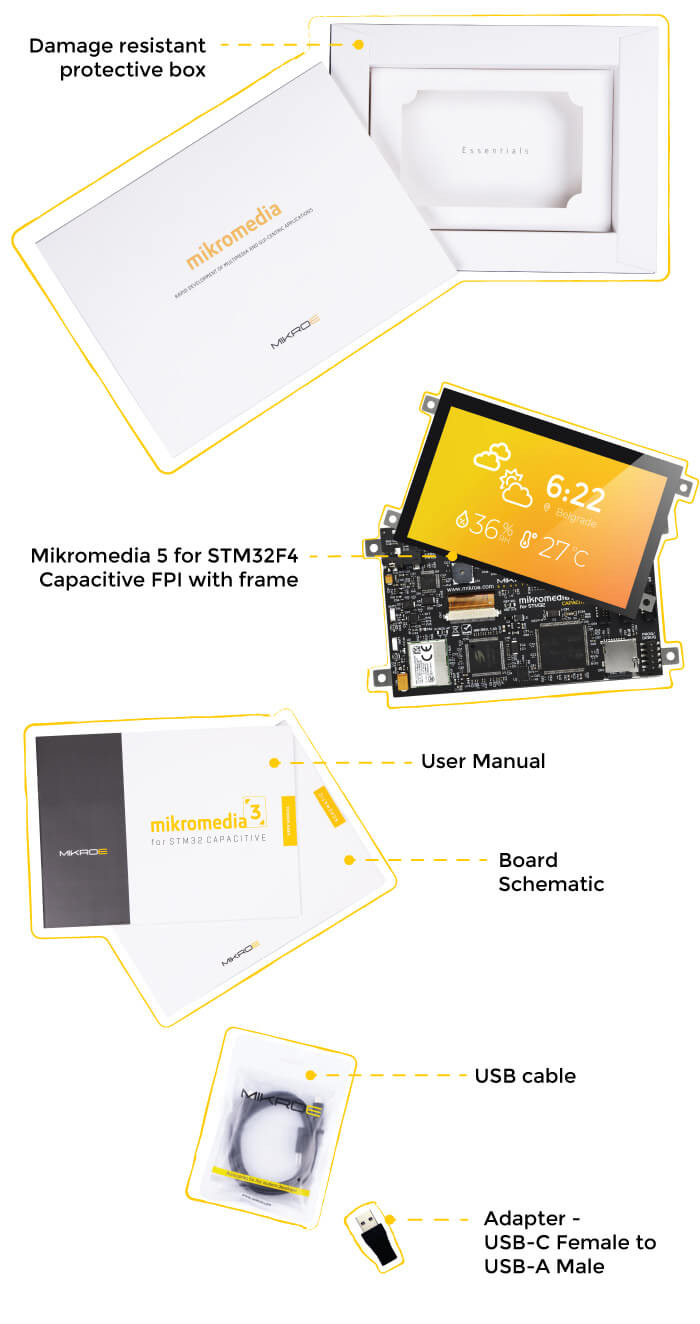 what is in the box mikromedia 5 for stm32 capacitive fpi with frame