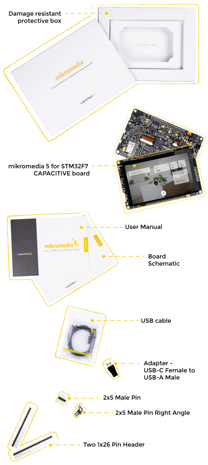 what is in the box mikromedia 5 for stm32f7 capacitive