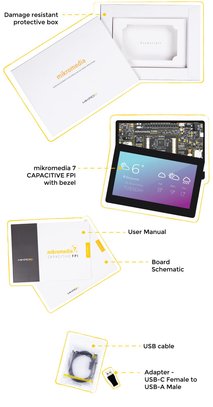 what is in the box mikromedia 7 capacitive fpi with bezel