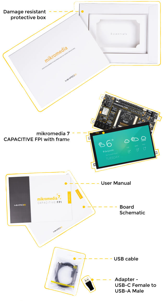 what is in the box mikromedia 7 capacitive fpi with frame