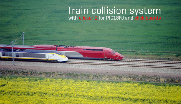 Train colission system with click board