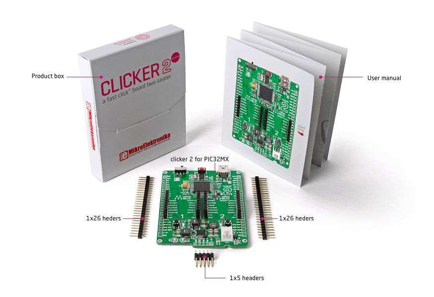Clicker 2 for PIC32MX packaging