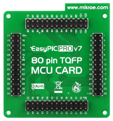 Mikroe Standard 80-pin MCU card with PIC18F8520 back