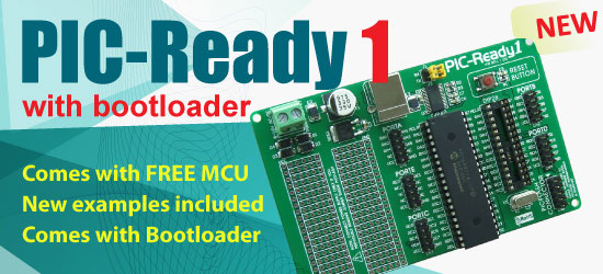 PIC-Ready1 now shipped with Bootloader and Examples