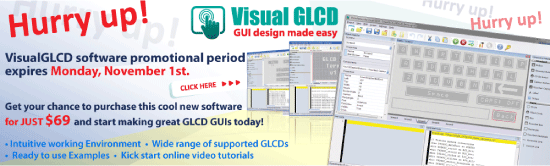 Hurry up! VisualGLCD promotional period ends November 1st