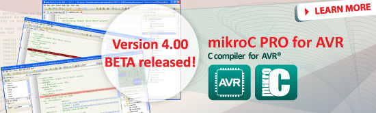 mikroC PRO for AVR 4.00 BETA released