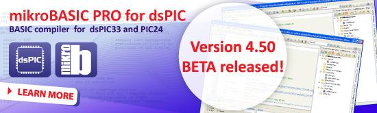 mikroBasic PRO for dsPIC v4.50 beta released