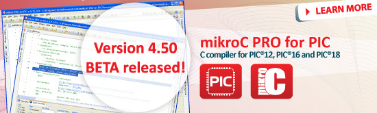 mikroC PRO for PIC 4.50beta released