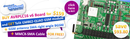 Special Weekend Offer: buy AVRPLC16 get GSM module, cable and antenna for free