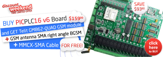 Special Weekend Offer: buy PICPLC16 get GSM module, cable and antenna for free