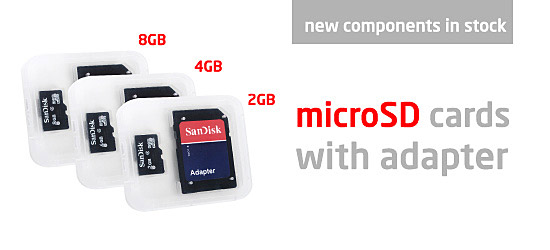 New microSD cards with adapters in stock