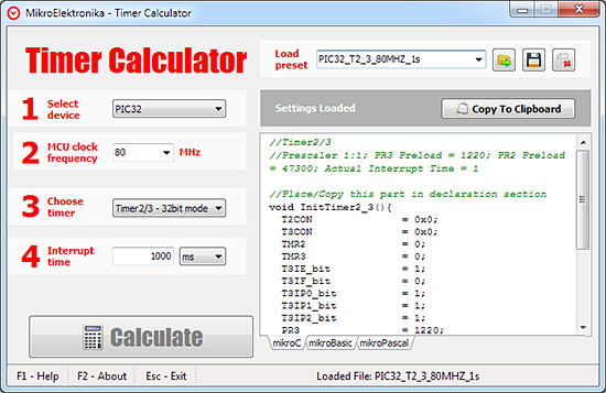 Timer Calculator 1.50 Now Supports dsPIC, PIC24 and PIC32!