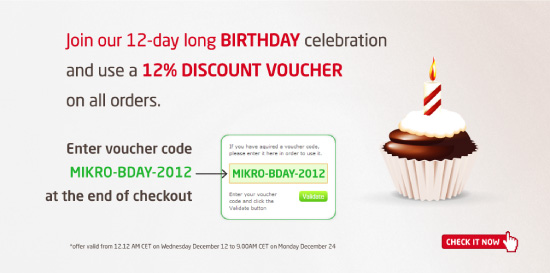 Join our birthday celebaration and get 12% discount on all orders