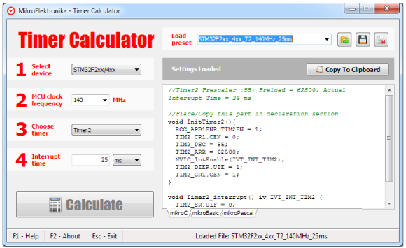 Timer Calculator v2 00 now supports STM32 and Stellaris!
