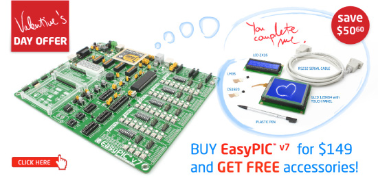 Special Valentine's Day Offer - Buy EasyPIC v7 for $149 and get FREE accessories worth over $48