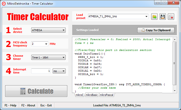 Timer Calculator v2 50 now supports AVR microcontrollers!