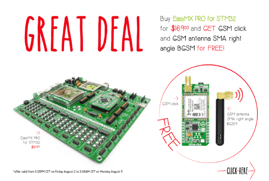 Special Offer - Buy EasyMx PRO for STM32 and GET FREE GSM click and antenna!
