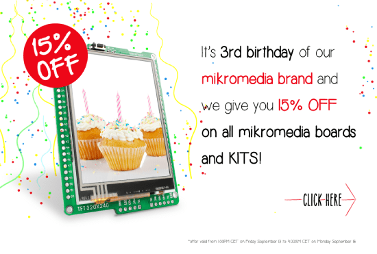15% OFF on all mikromedia boards and kits