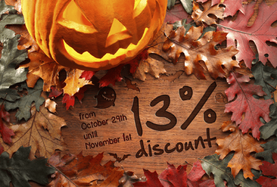 Halloween Offer - 13% discount on all orders!