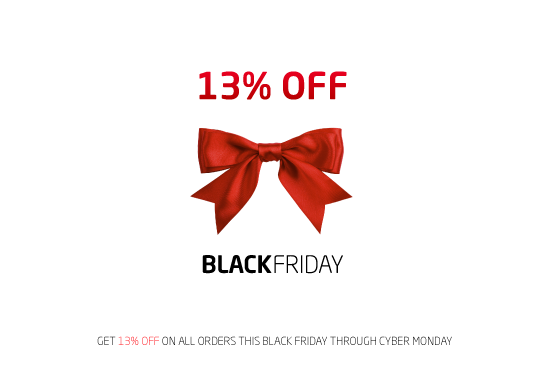 Save 13% on all orders this Black Friday!