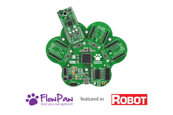 FlowPaw and SpeakUp on the front page of Robot magazine