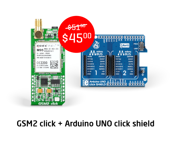 GSM2 click and Arduino Uno click shield bundle