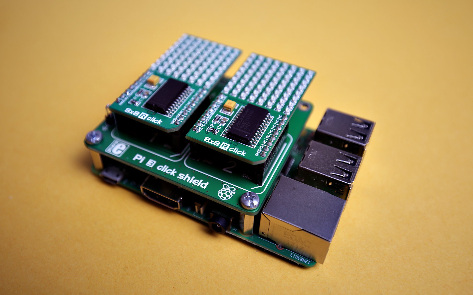 Raspberry Pi Examples With Click Boards Mikroelektronika Bare Circuit Board For The 8051 Development To Demonstrate An Example Of Spi Protocol Used On Weve Plugged Two 88 R