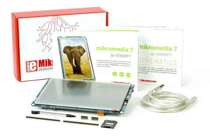 mikromedia 7 for STM32F7 what is in box